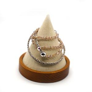 CatstoneNYC Brown Beaded Crystal Wrap Bracelet